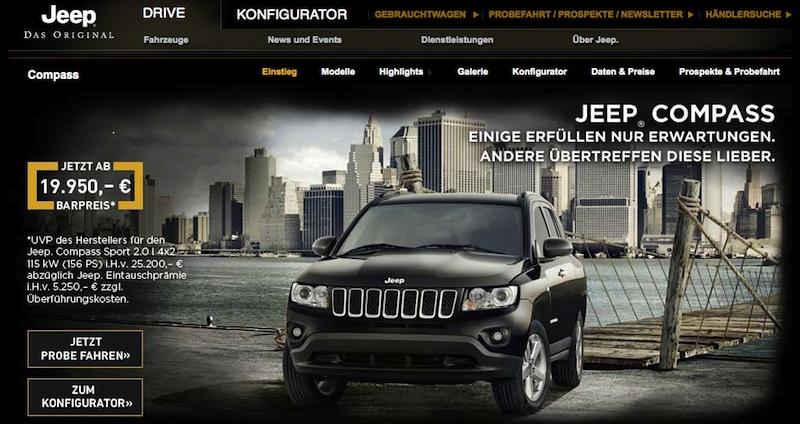 Screenshot / Jeep Compass Webseite